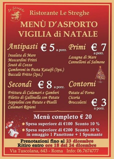 Menu Di Natale A Roma.Cena D Asporto Vigilia Di Natale Roma Ristorante Le