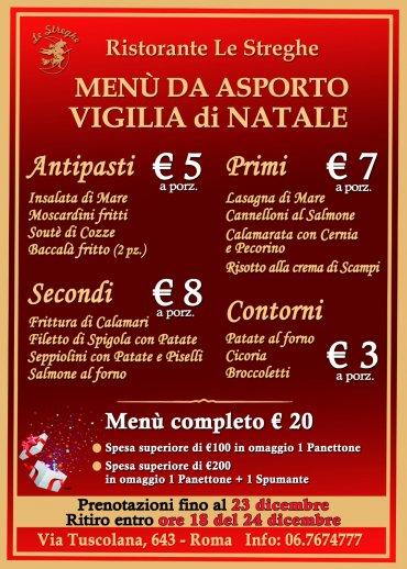 Menu Per La Vigilia Di Natale.Menu Da Asporto Vigilia Di Natale 2019 Roma Eventi Serate A Tema Cena Spettacolo Ristorante Le Streghe Roma Sud